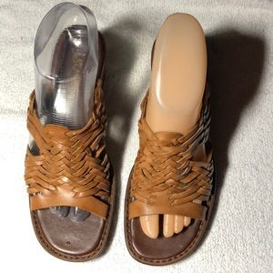 St John Bay Women Tan Leather Wedge Sandal Shoes
